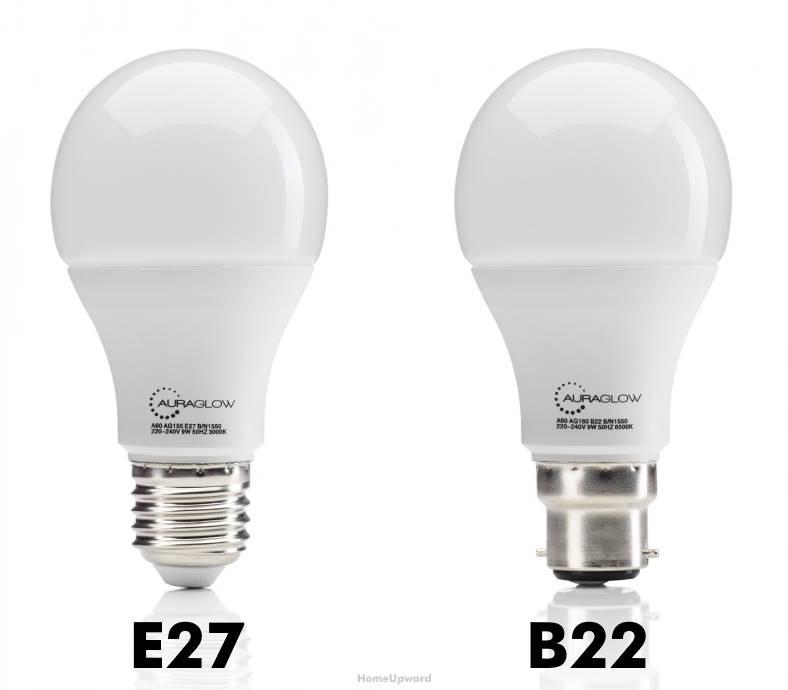 E27 vs B22 bulbs comparison image