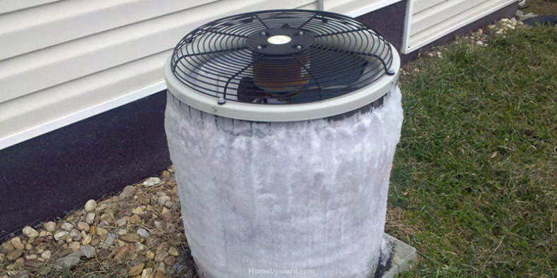 Example of frozen air conditioner outside