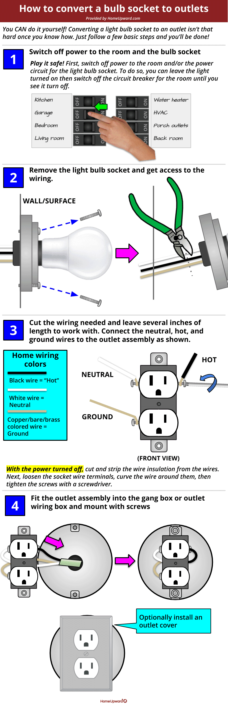 How to change a light bulb socket to outlet diagram
