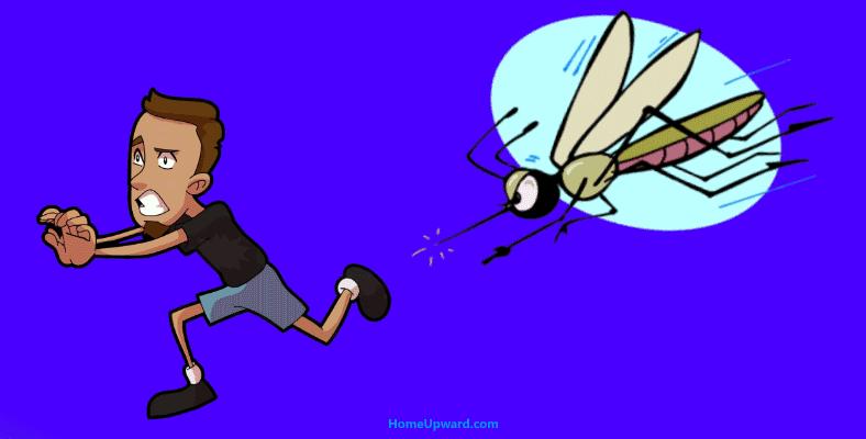 Man running from mosquito
