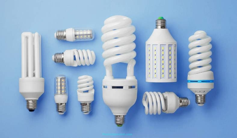 Image of various examples of fluorescent light bulbs