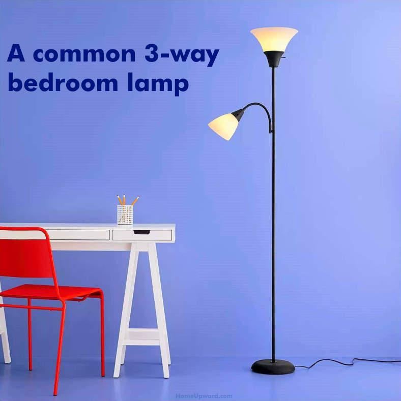 Example of a common 3-way bedroom floor lamp