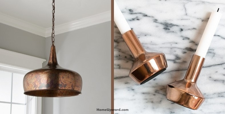 how do you clean light fixtures and candle holders with copper finishes